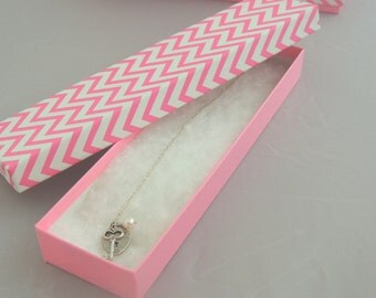 """10 Hot Pink Chevron 8""""x2""""x1"""" Presentation Cotton Filled Jewelry Boxes, Chevron Design Necklace Display Boxes, Colorful bracelet Gift boxes"""