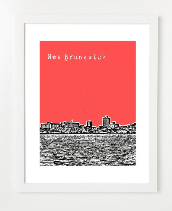 New Brunswick New Jersey Skyline Poster New Brunswick NJ Art