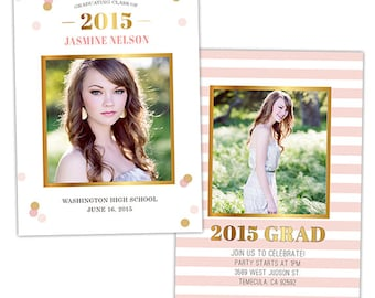 Senior Graduation Announcement Card Template for Photographers - Photoshop Templates for Photographers - Photo Card Template - GD113