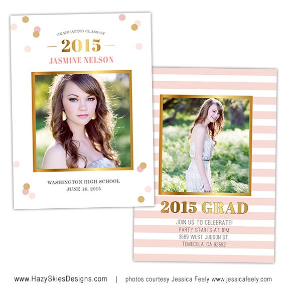 Senior graduation announcement card template for photographers for Free senior templates for photoshop