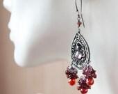 Chandelier Earrings Long Sterling Silver Wire Wrapped Garnet Cubic Zirconia Raspberry Quartz