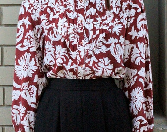 Vintage 1980's Burgundy Floral Pleated Bib Secretary Blouse S