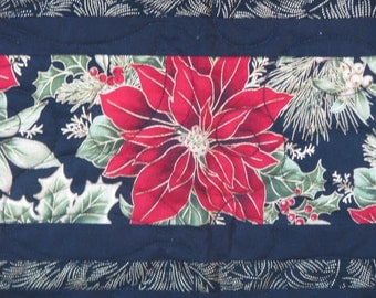 Christmas Quilted Table Runner - Pretty Poinsettias and Cardinals