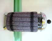 French Press Coffee Cozy  Heather Gray with Charcoal  Sweater Stripes