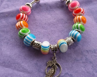 Bright Parrot colors and Rainbow hues, Euro style Bracelet  Loaded !