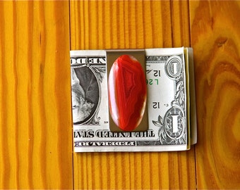 FREE SHIPPING , Stainless Steel Money Clip , One Of A Kind , Custom Made , 56.55 ct  Banded Agate Gemstone