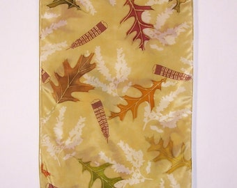 Wildlife Silk Scarf, Hand-painted Grouse Feathers and Leaves, Hand-dyed and Hand-printed