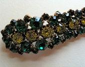 Flowing Vintage Emerald and Citrine Green Rhinestone Brooch Pin