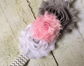 Infant Headbands - Baby Headbands - Newborn Headbands - Pink, White, and Grey chevron Shabby Rosette Headband - Photo Prop