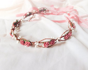 Tinkerbell's berry garland hairpiece - A vintage pink rose and white berry hair wreath floral crown