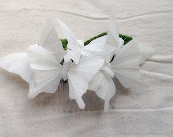 Monarch glen feather butterfly hair comb hairpiece bridal weddings boho white