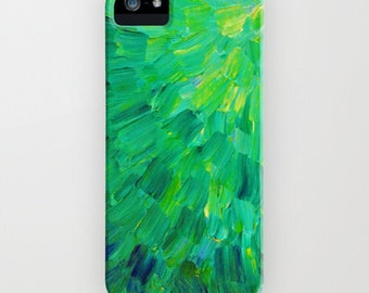 SEA SCALES in Green iPhone 4 5s 5c SE 6 6s Case, Samsung Galaxy Hard Plastic Cover Neon Art Colorful Mermaid Fin, Feathers Abstract Painting