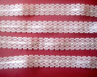 "Ribbon Beading Lace, Ivory, 1"" inch wide, 1 Yard, For Victorian, Bridal, & Romantic Projects"