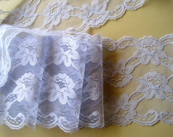 "Lilac Wide Lace, Lilac, 5 1/4"" inch wide, 1 Yard For Apparel, Home Decor, Accessories, Mixed Media, Scrapbook"