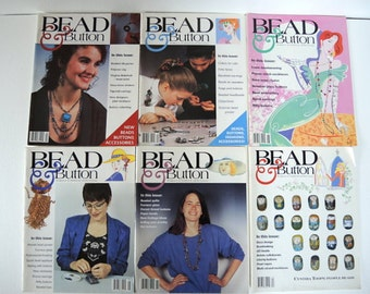 Bead & Button Magazine First Year 6 issues 1994 Craft Supply Beading How to DIY Jewelry How To Bead Collage Altered Art Jewelry