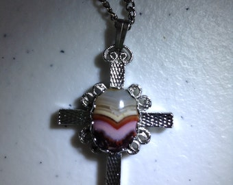 Cross Necklace with Crazy Lace Agate