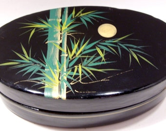 Black Lacquer Oval Box With Moon and Bamboo