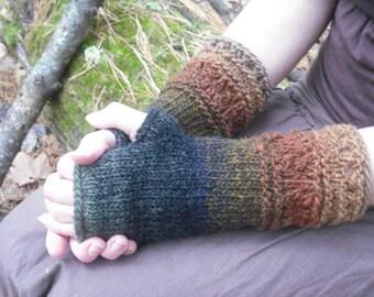 Fingerless Gloves, Knit Fingerless Gloves, Wool Fingerless Gloves, Wool Arm Warmers, Wrist Warmers, Knitted Gloves, Autumn Colors, 100% Wool