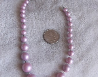 Vtg Necklace- Frosted Lilac Beaded-Marked Japan-N245