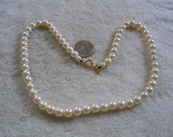 Vintage Necklace-Soft White Faux Pearl Beaded-SARAH COV-N1299
