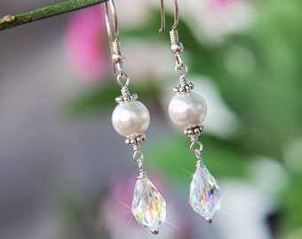 20% Off Wedding Bridal Earrings With White Pearl and AB Swarovski Crystal Sterling Silver Bright Dangle Jewelry For Brides