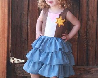 Sheriff Callie inspired triple ruffle dress custom made sizes 4-6