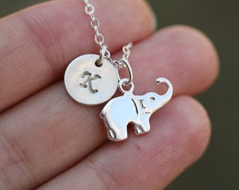 Lucky Elephant initial Necklace,elephant necklace,initial necklace,Personalized lucky charm,monogram jewelry,hand stamped initial,Sisterhood