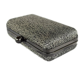 Metallic Minaudiere purse, Bridal box clutch  /Metallic  evening bag/   Bridesmaid gift idea ,  gift for her/ Wedding  purse/Clamshell purse