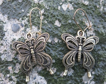 Gold Filigree Butterfly Pierced Earrings