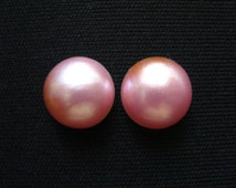 Pink Mabe Pearl Cabochon pair - 14mm round