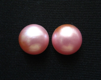 Pink Mabe Pearl Cabochon pair - 13mm round