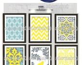 Art Print Wall Art Yellow Turquoise Grey Modern inspired Wall Art -Set of (6)  Prints (UNFRAMED) #96694380