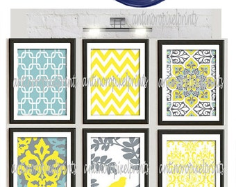 Art Print Wall Art Yellow Turquoise Grey Modern inspired Wall Art -Set of (6)  Prints (UNFRAMED) #96694380