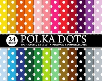 BUY 1 GET 1 FREE - 24 Polka Dots Digital Scrapbook Paper, digital paper patterns for card making, invitations, scrapbooking