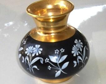 Vintage English Porcelain Vase, brass and floral enamel urn, Prinknash pottery, black and white flower vase