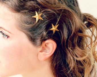 Wedding Hair Accessory, Golden Star Bobby Pins Set of Two