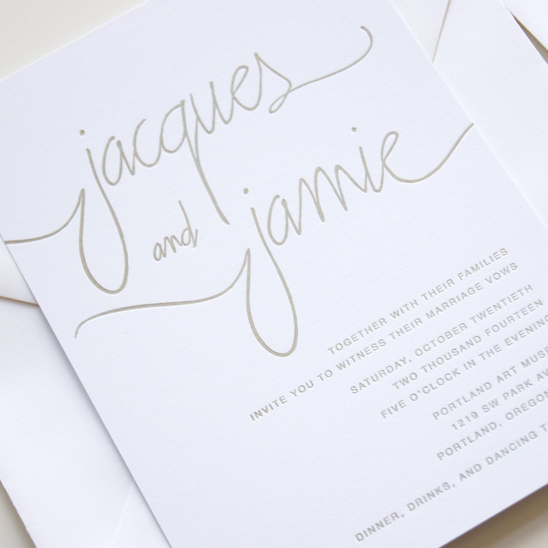 Sample gold modern calligraphy letterpress wedding invitation