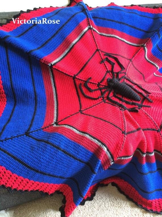 Crochet Pattern For Spiderman Blanket : Crochet Spiderman Blanket Pattern Only from ...