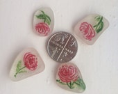 Sea glass: Four handpainted roses on Scottish sea glass, pretty and original