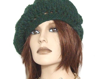 Hand crocheted green basque hat
