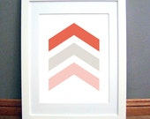 Red Beige Chevron Arrows, Chevron Wall Art, Chevron Wall Print, Red, Beige Art, Mocha Wall Art, Printable PDF, Instant Download