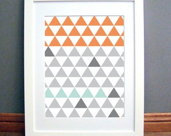 Triangle Grid Mint Grey Orange Large, Printable Wall Art, Geometric, Modern, Download