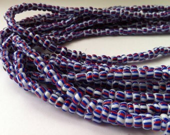 White with Red & Dark Blue Handmade African Waist Beads (Thick)
