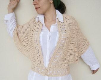 SALE Crochet Blouse in Beige Cotton