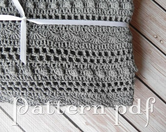 PDF Pattern - Crocheted Lace Baby Blanket Pattern