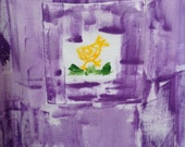 Petrina, Kauai, Hawaii Hand painted toddler/girl's cotton bib dresses i purple periwinkle size 2-6
