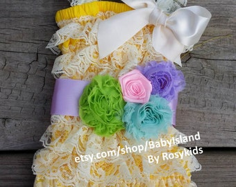 Easter outfits!! Egg Roll Rainbow Color Romper, Lace posh petti ruffle romper headband sash set newborn to toddler girl size