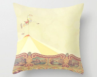 Carousel pillow, yellow pillow case, carnival theme, jersey shore, kids room, nursery decor, gender neutral