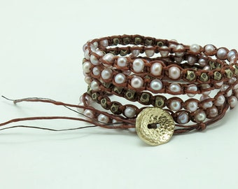 Pink freshwater pearl,gold plated  beads wrap bracelet