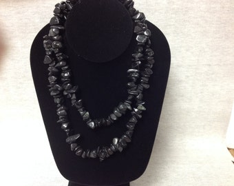 Vintage Black Stone Beaded Long Wrap Necklace